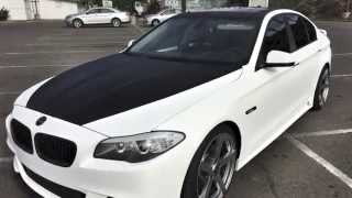 BMW 535i Full White Carbon Fiber Vinyl Wrap & Black Carbon Accents