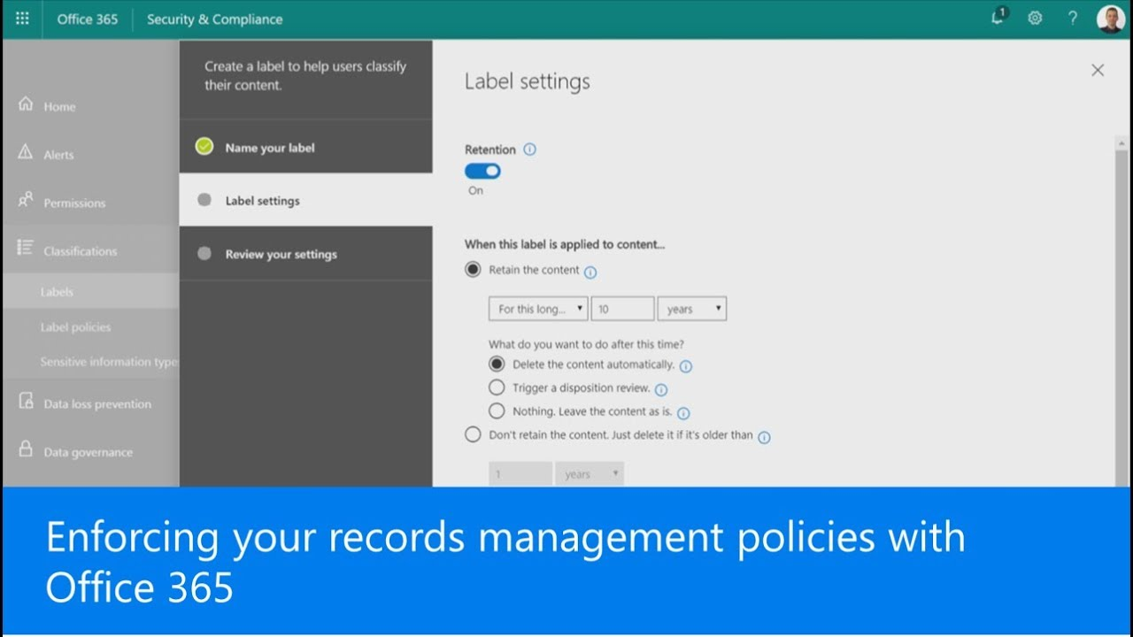 Enforcing your records management policies with Office 365