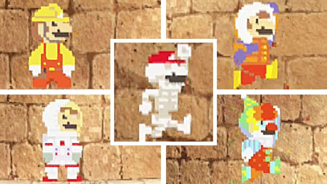 Super Mario Odyssey All Costumes In 8 Bit 2d Costumes