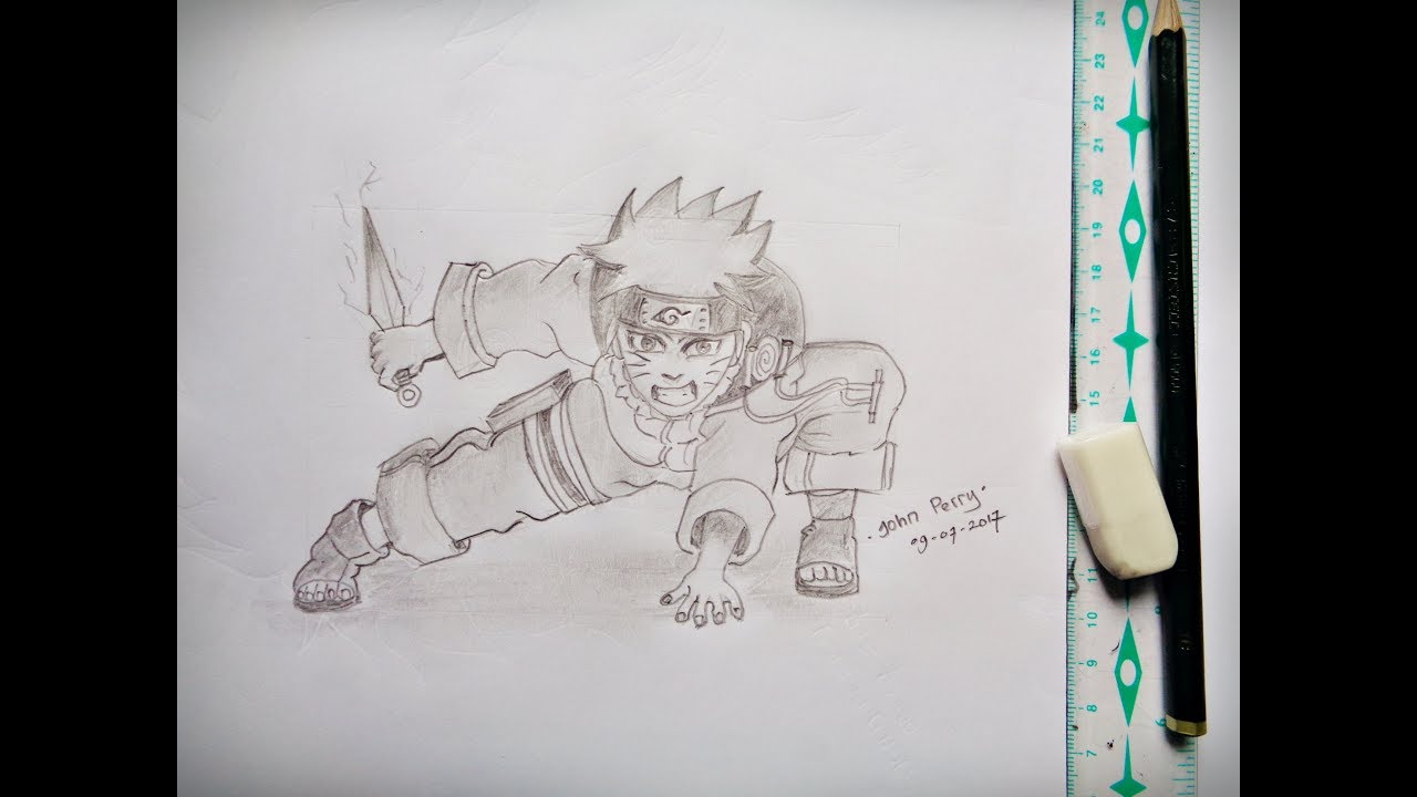 How To Draw Full Body Uzumaki Naruto Kid Holding Kunai Pencil