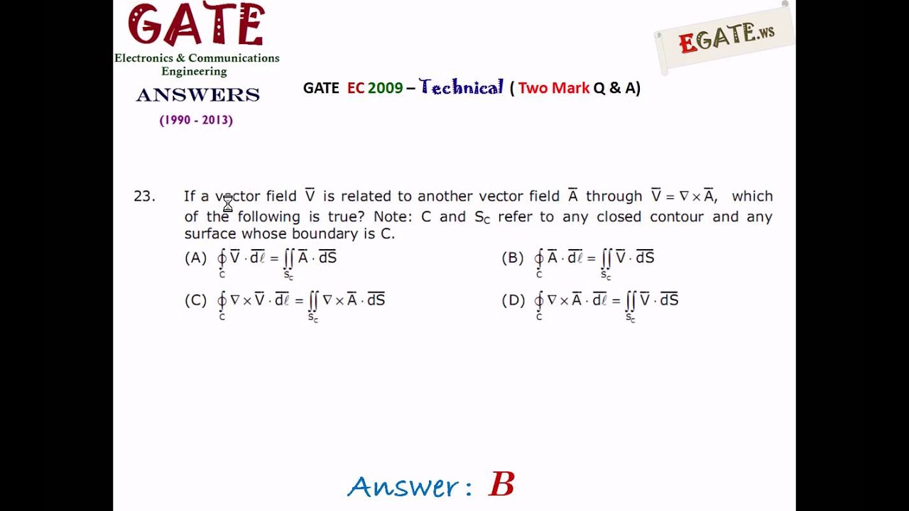 GATE 2009 ECE (Electronics & Communications) - Answer Key for All 65  Questions