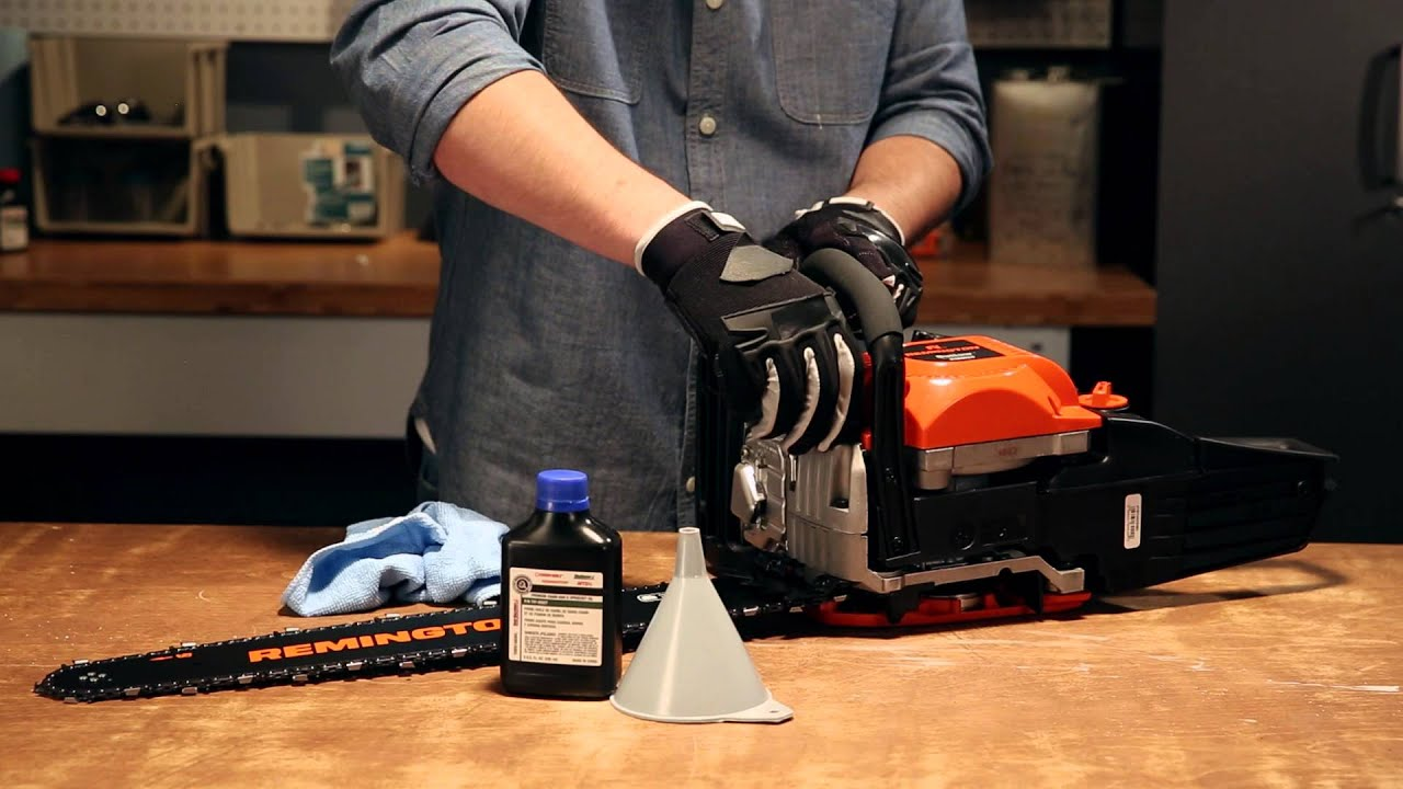 How to add bar and chain oil to your gas chainsaw youtube how to add bar and chain oil to your gas chainsaw remington power tools greentooth Gallery
