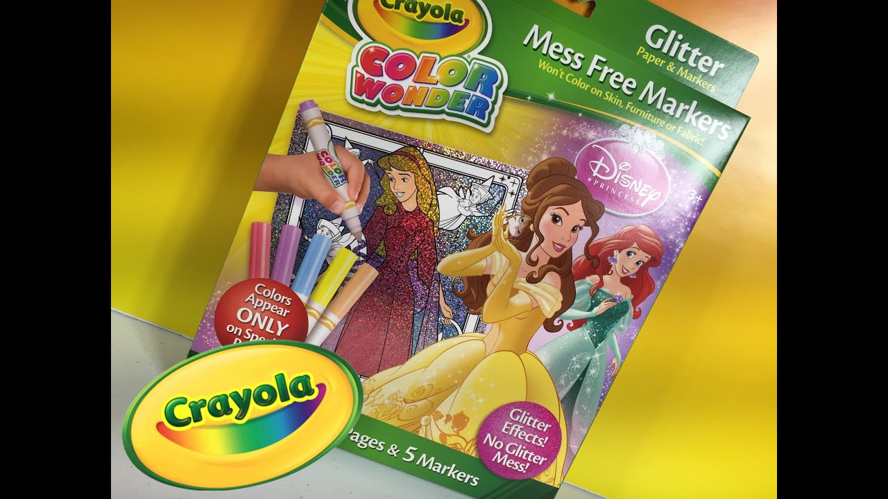 Color With Me Disney Crayola Princess Glitter Color Wonder Set ...