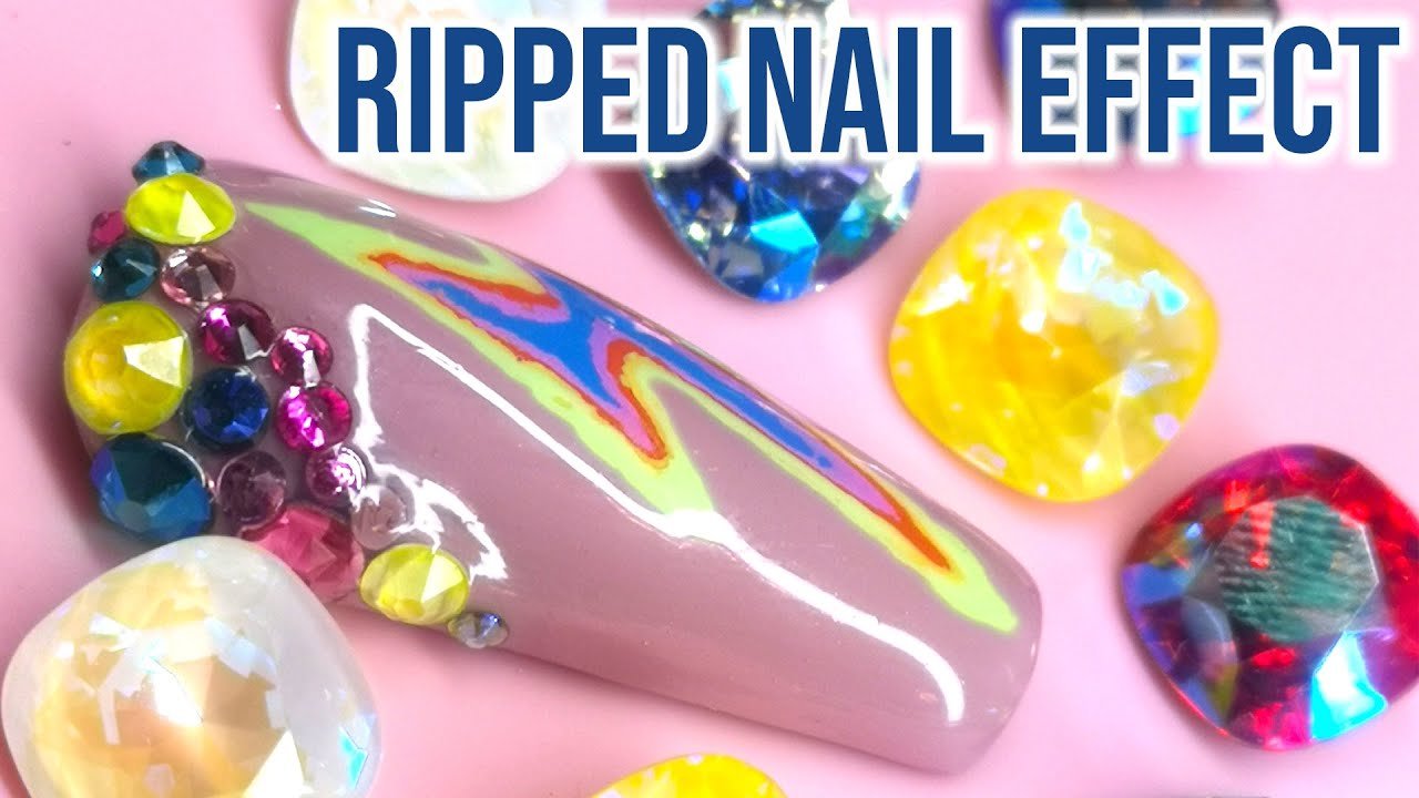 Ripped Effect Lightning Bolt Nail