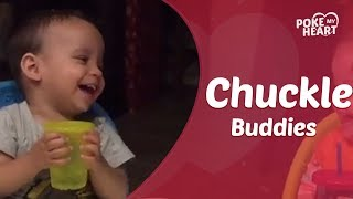 Twin Toddlers Can't Stop Laughing While Drinking Juice