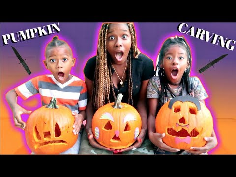 PUMPKIN CARVING CHALLENGE W/ MY KIDS 🎃🍴  LACY'S FILES
