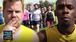 100m Race: Usain Bolt vs James Corden & Owen Wilson by : The Late Late Show with James Corden