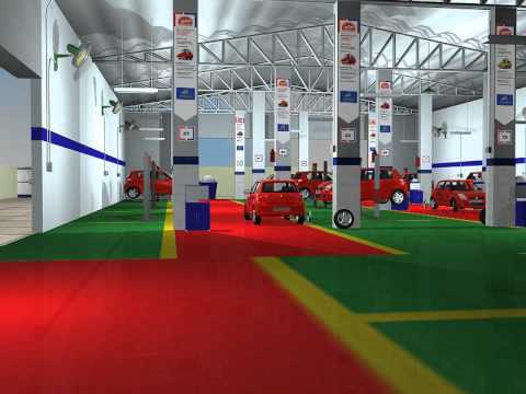 Car Workshop 3d walkthrough