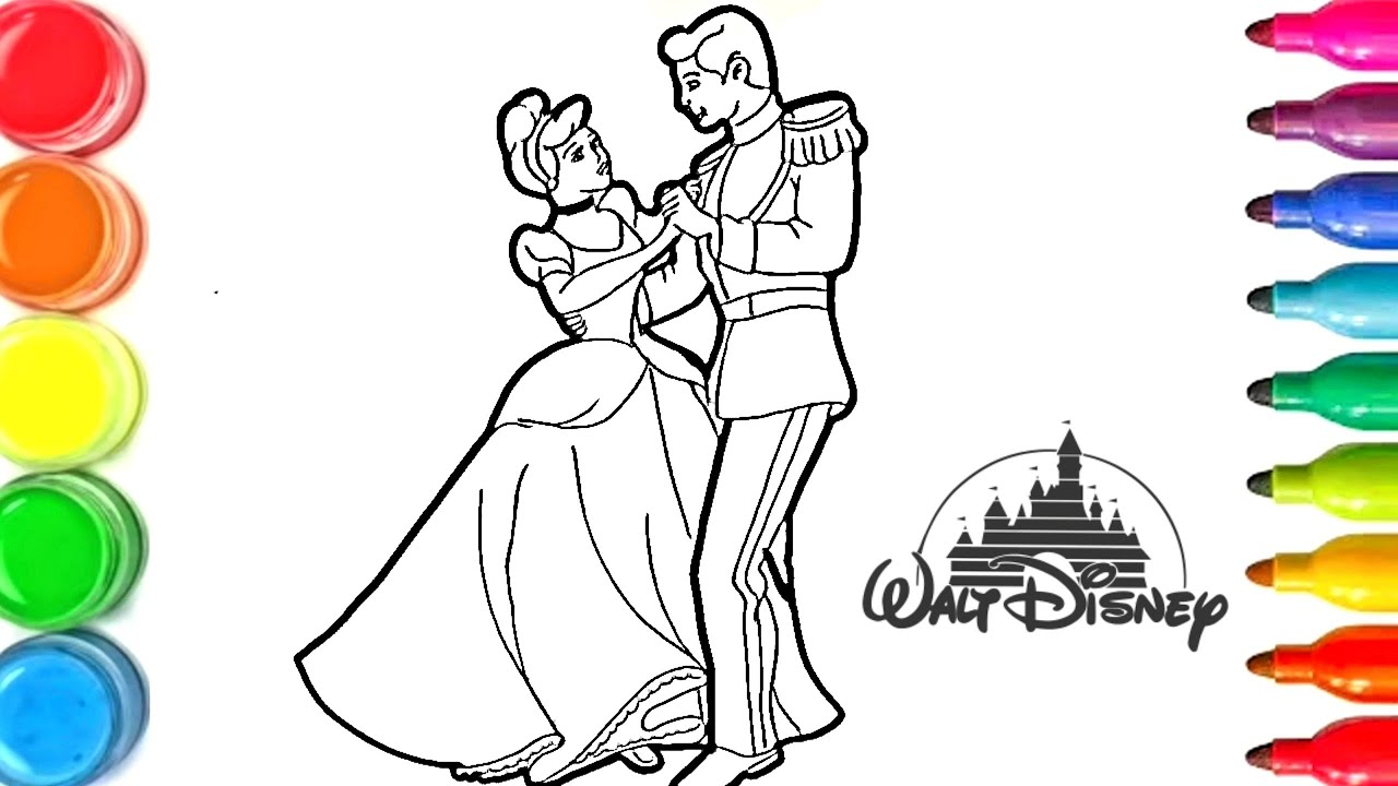 Dessin Et Coloriage Princesse Disney Et Le Prince How To Draw And Color For Kids Tt115 Youtube