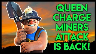 Th10 Queen Walk Miner Attack Strategy: Coc Th10 Queen Charge Miner War Attack Strategy in CoC