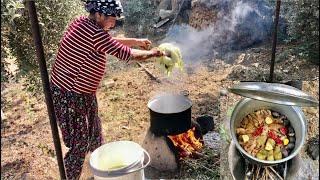 Öğlen yemeği günlük vlog ( Odun ateşinde yemek )