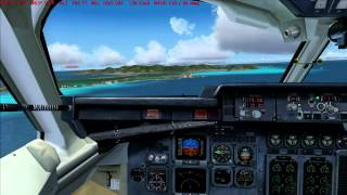 QualityWings BAe 146 landing at St Marteen TNCM (Swiss Fs2004)