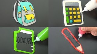 Back To School Pancake Art - Pencil, Calculator, Notebook, Backpack
