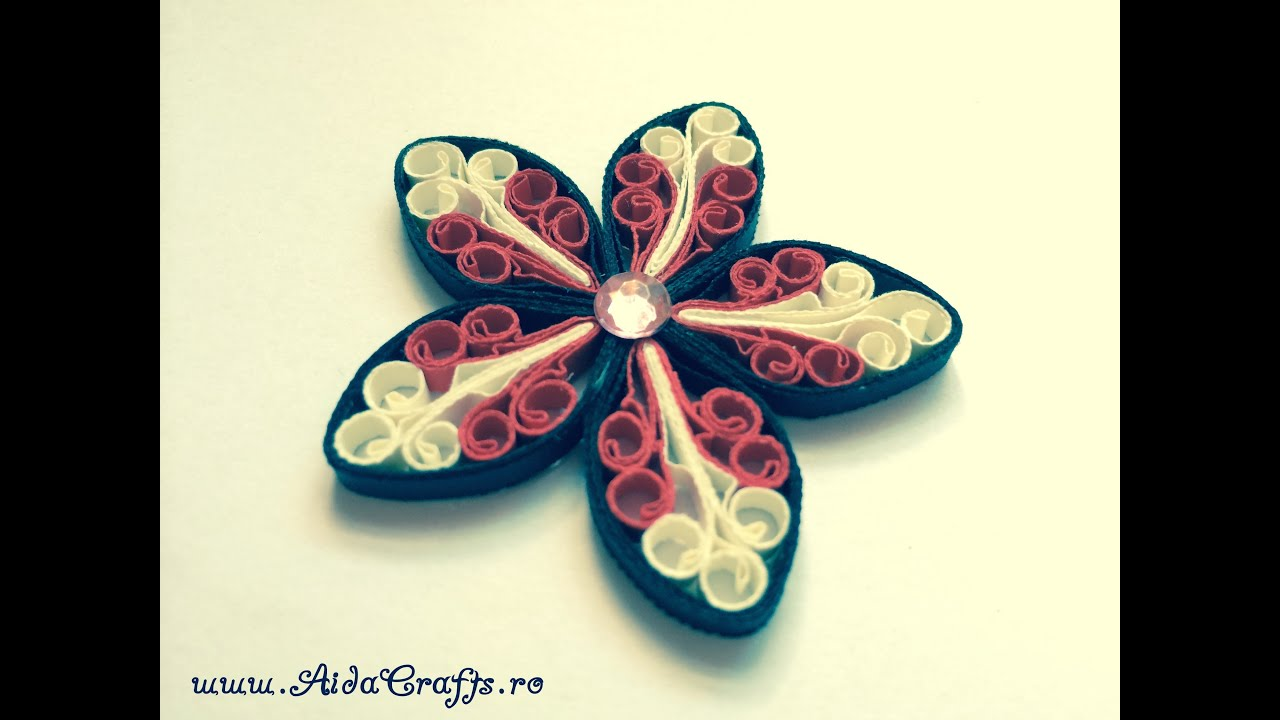 Quilling tutorial 10 floare regala aidacrafts youtube for Quilling how to