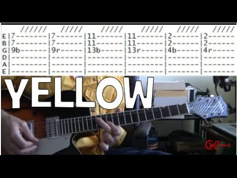 Coldplay Yellow Guitar tabs chords lesson - YouTube