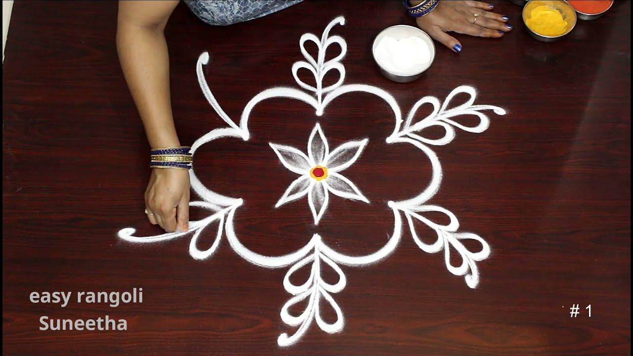 2 Very easy BEGINNERS Friday kolam rangoli || Simple Traditional Rangoli Art designs || New muggulu