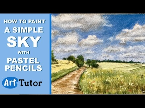 pastel pencils how to paint a simple cloudy sky youtube