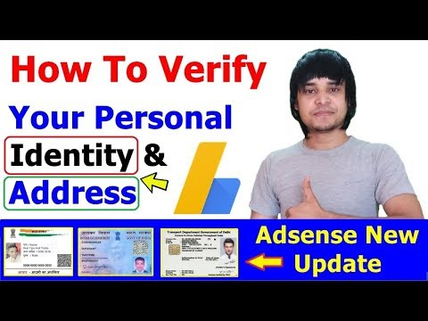 How To Verify Your Personal Identity In Google Adsense With ID Card Or License [ Pan & Aadhar Card ]