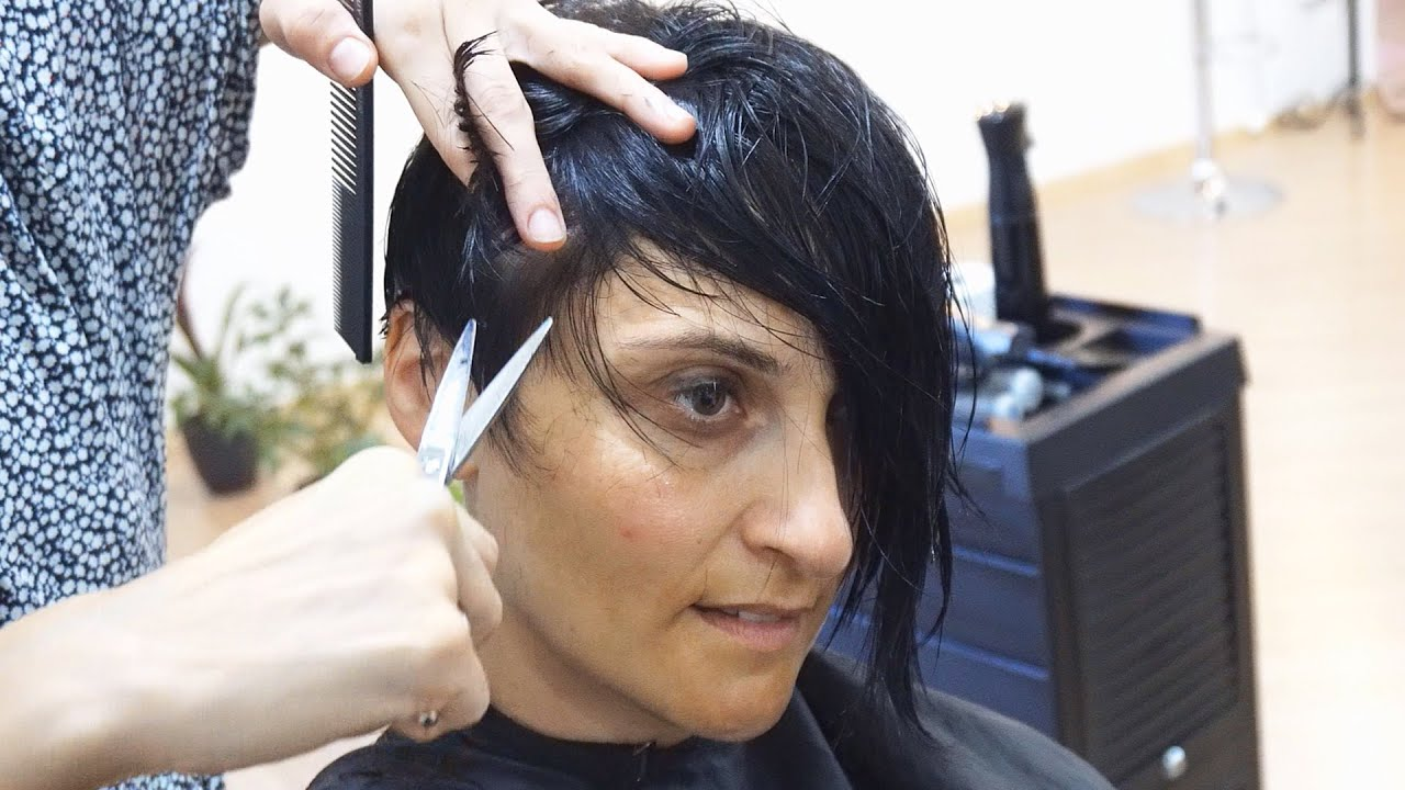 Short Hair Cutting Graduation With Creative Side Bangs Youtube