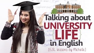 English conversation Lesson -  1st Day at the University ( Speaking about University life) thumbnail