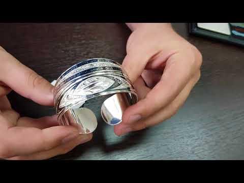 Серебряный кубачинский браслет с чернением арт.504