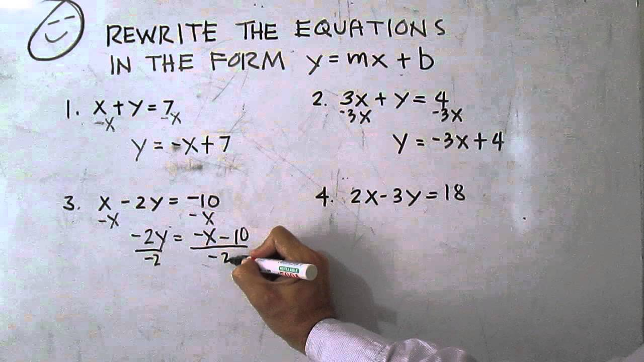 rewrite the equations in the form y mx b youtube. Black Bedroom Furniture Sets. Home Design Ideas