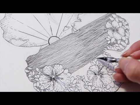Time-lapse Drawing: India Ink & Dip Pen - Hibiscus