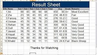 Result Sheet In Excel Format Free Download