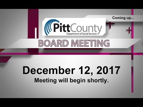 Pitt County DSS Board meeting for 12/12/2017