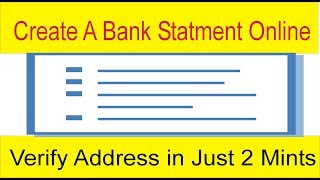 Online Address Verification in Just 2 Mints | Fake Bank Account Statement Free by Tani Forex