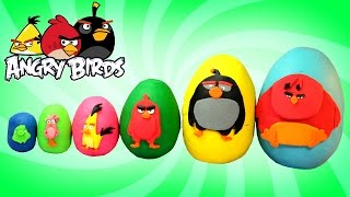 Smallest to Biggest ANGRY BIRDS Play Doh Surprise Eggs