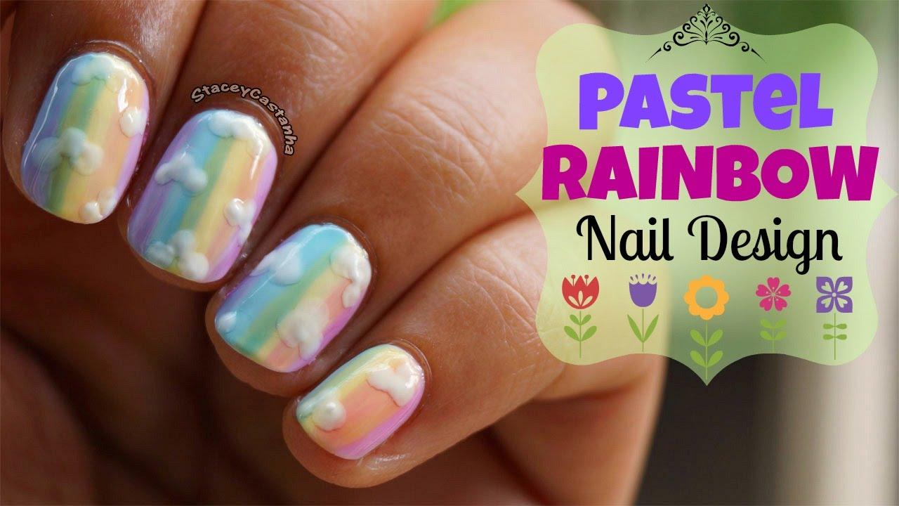 no tools nailart | pastel rainbows using opi sheer tints. - youtube