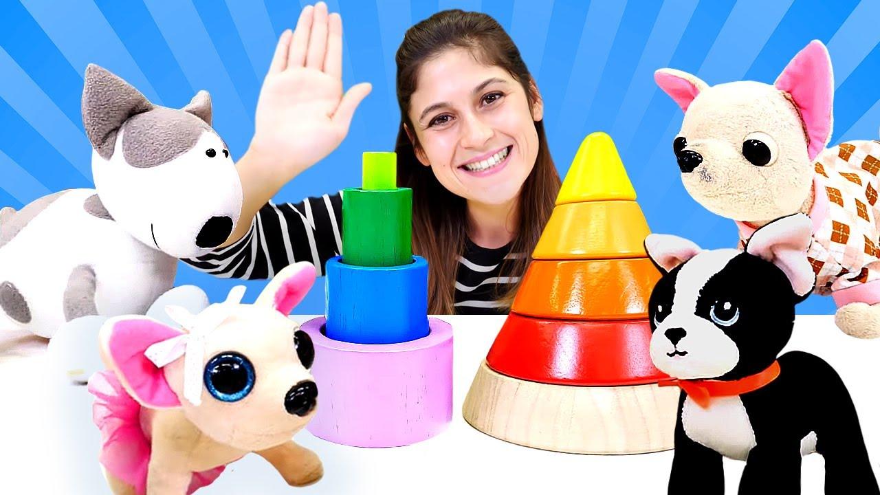 Eğitici video. Loli renkli ahşap piramit yapıyor. Renkleri ve şekilleri öğreniyoruz. Bebek gelişimi