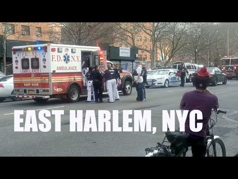 Emergency Services Respond to Shooting in East Harlem, NYC (3/25/16)