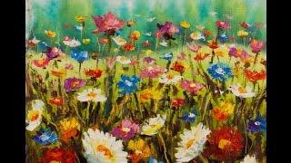 Поляна летних цветов - цветочная живопись - картина маслом-купить картины(Поляна летних цветов - новая цветочная картина, написанная маслом и мастихином на холсте художника Валерия..., 2015-05-19T13:41:21.000Z)