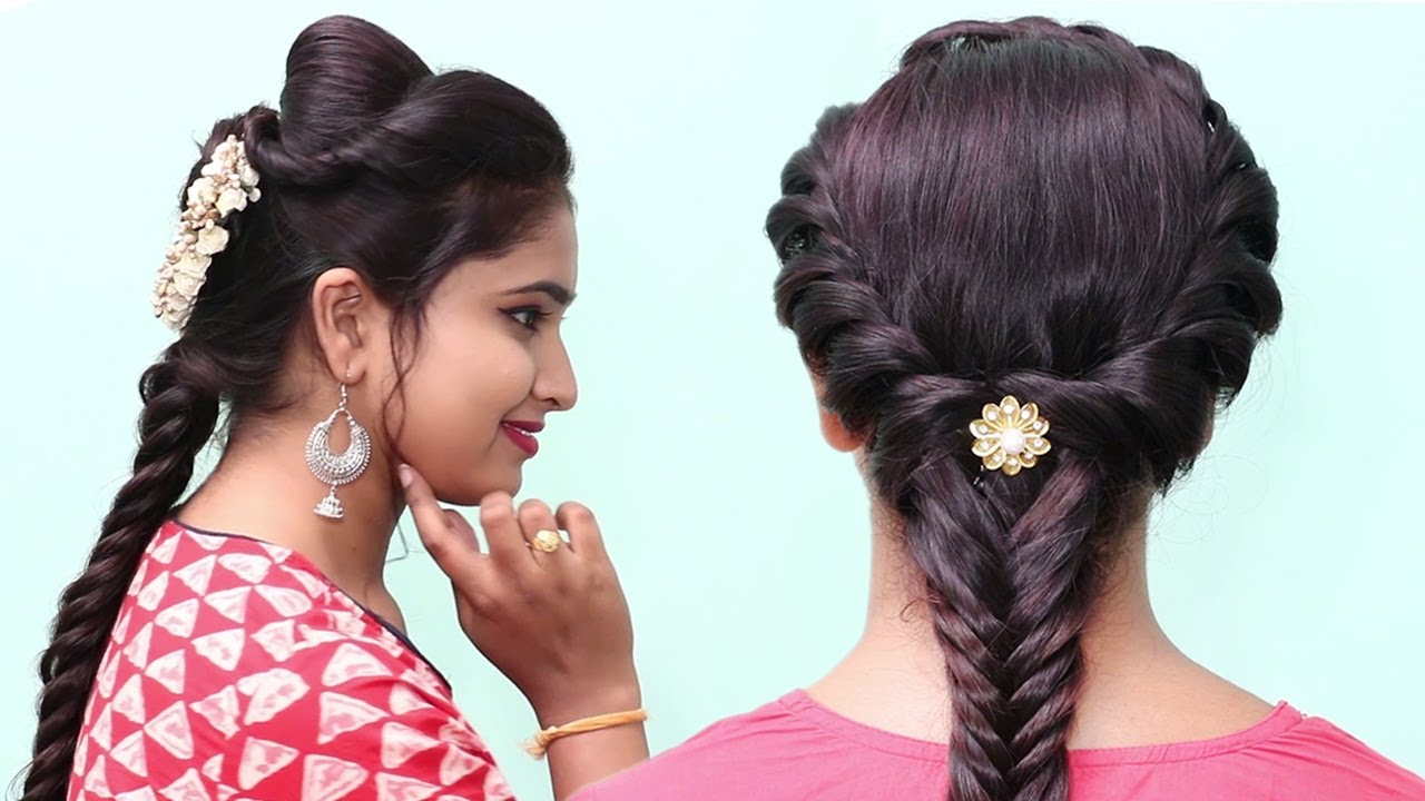 Easy Juda Hairstyles    Hairstyle for Saree    Easy Hairstyle    Ladies Hair Style