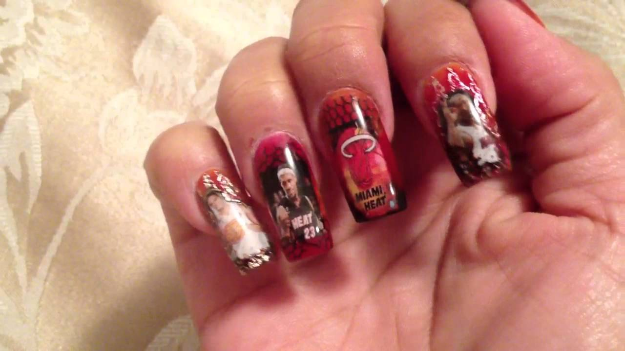 Miami Heat nail art - YouTube