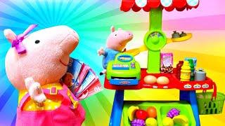 Пеппа и Джордж открыли магазин! Игрушечный магазин распаковка - Мультики с игрушками