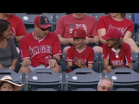 Trout flips ball to kid wearing his jersey