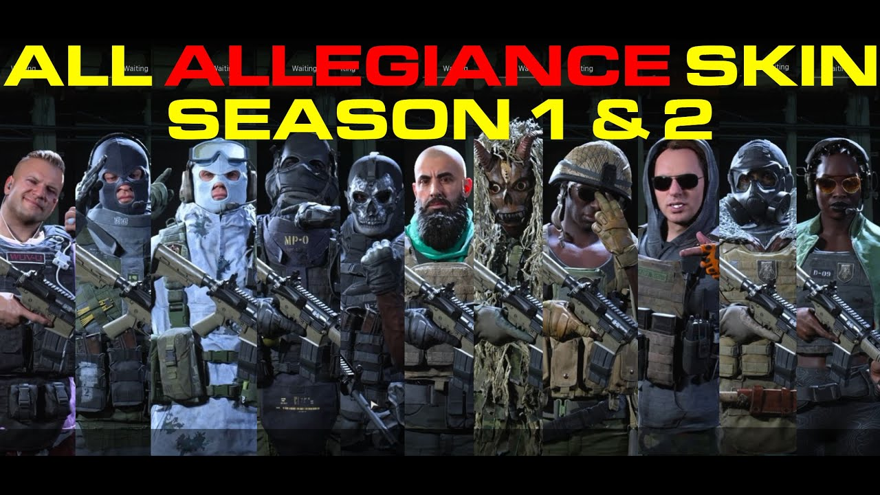 All Allegiance Skins Season 1 2 Call Of Duty Modern Warfare Youtube