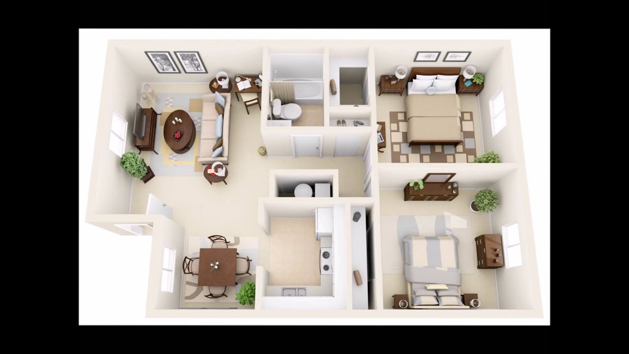 50 Two Bedroom Apartment(House) Plans in 3D perspective