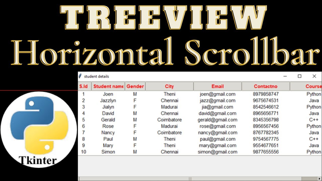 Display MySQL data in python table :Treeview with horizontal scrollbar