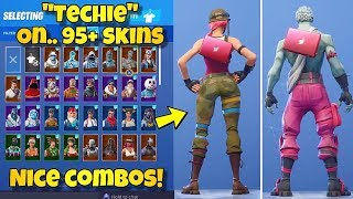 "NEW ""TECHIE"" BACK BLING Showcased With 95+ SKINS! Fortnite Battle Royale - NEW MAVEN SKIN"