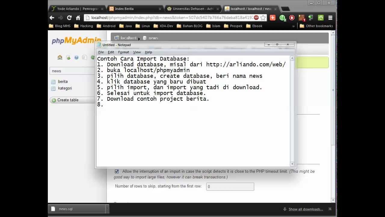 Cara Import Database Mysql Youtube