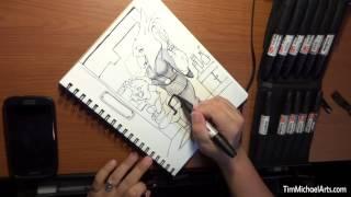 Tim Michael - Drawing On My Art Desk - Time Lapse - Original Drawing