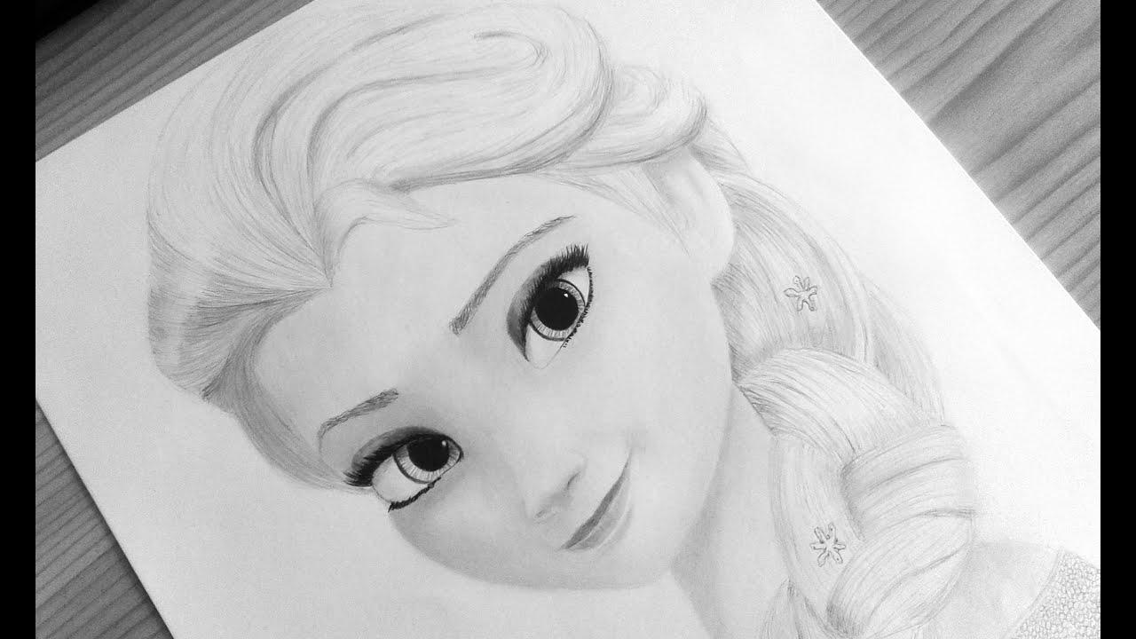 Speed Drawing - Elsa from Frozen (szkic Elsy) - YouTube