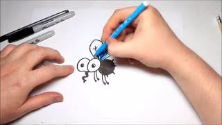 Easy How To Draw a Cartoon Fly For Kids