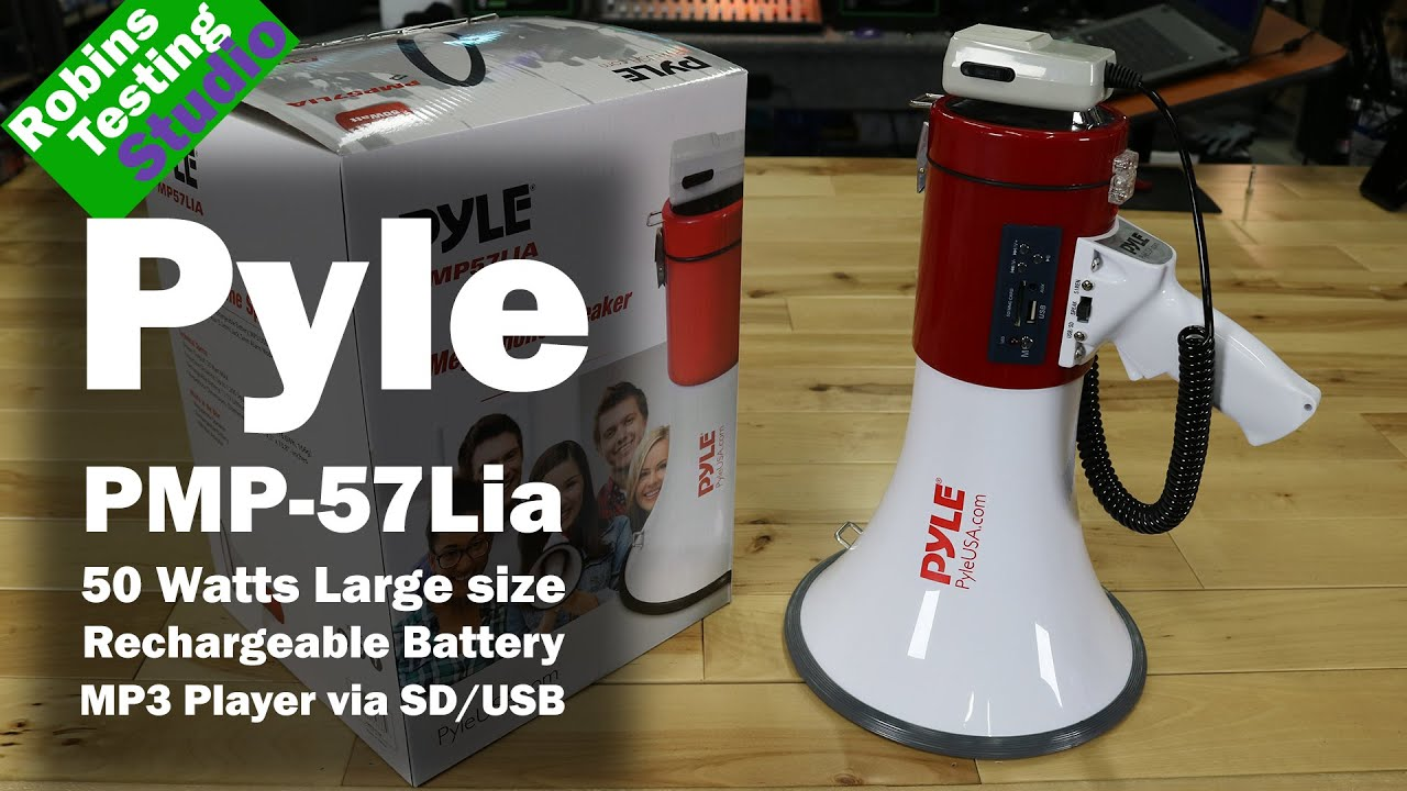 Download PYLE PMP57LIA Professional Megaphone - Comes with Rechargeable Battery and Built-in USB Flash & SD