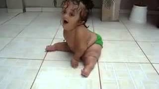 Baby Sliding on Butt. . Cute and Funny.