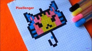 Зонт Кот Как нарисовать по клеточкам в тетради Зонтик Котика Пиксель Арт